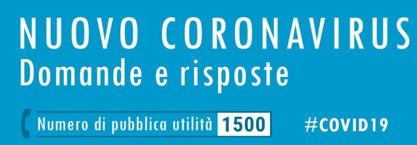 Banner con dicitura Nuovo Coronavirus Domande e Risposte - numero publica utilità 1500