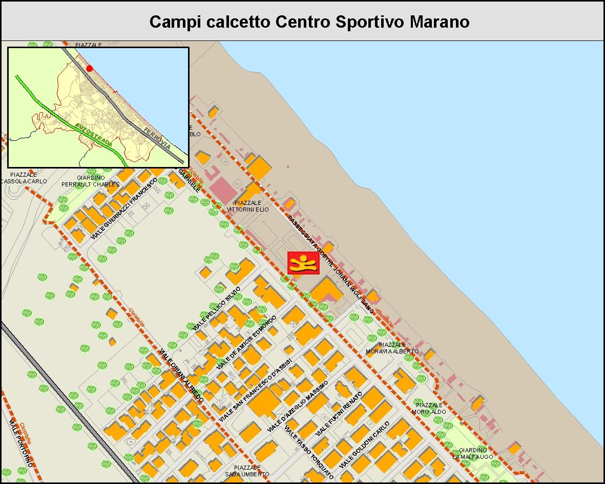 Campi calcetto centro sportivo Marano - MAPPA