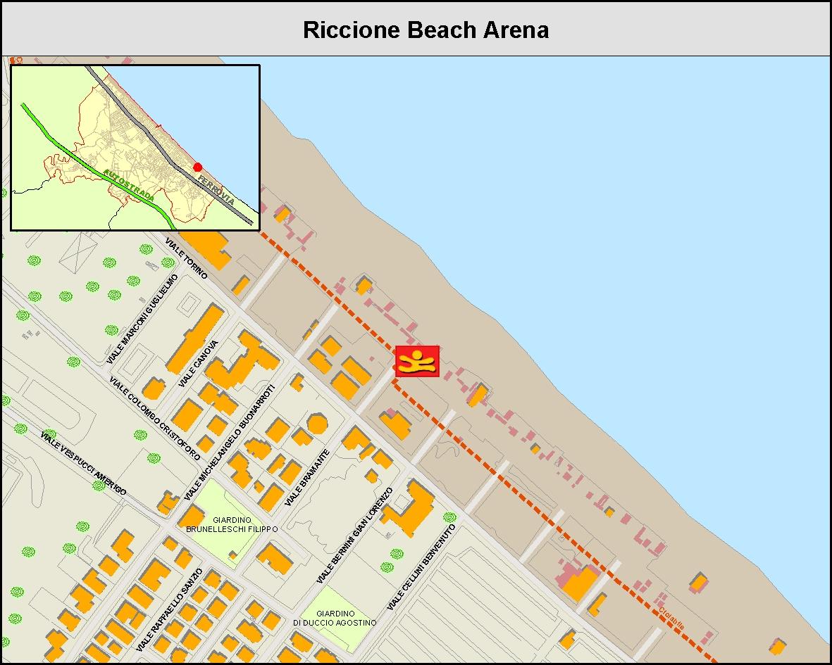 Riccione Beach Arena - Mappa