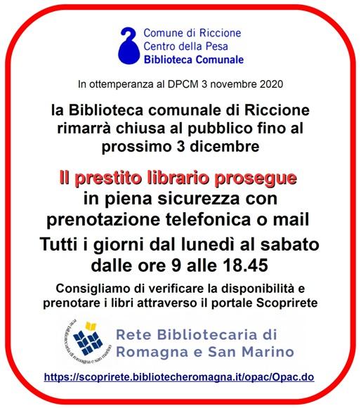 Biblioteca comunale di Riccione: il prestito librario prosegue in piena sicurezza con prenotazione telefonica