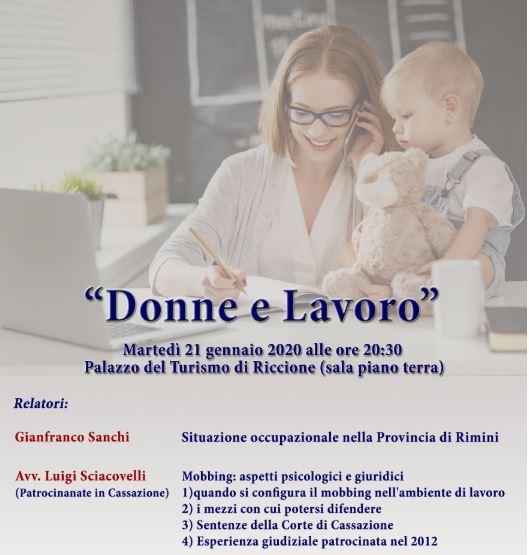 """Conferenza """"Donne e Lavoro"""" - 21 gennaio 2020 presso Palazzo del Turismo"""