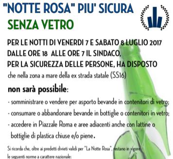 Notte Rosa in sicurezza deroga agli orari di diffusione sonora e vietate bottiglie di vetro e lattine