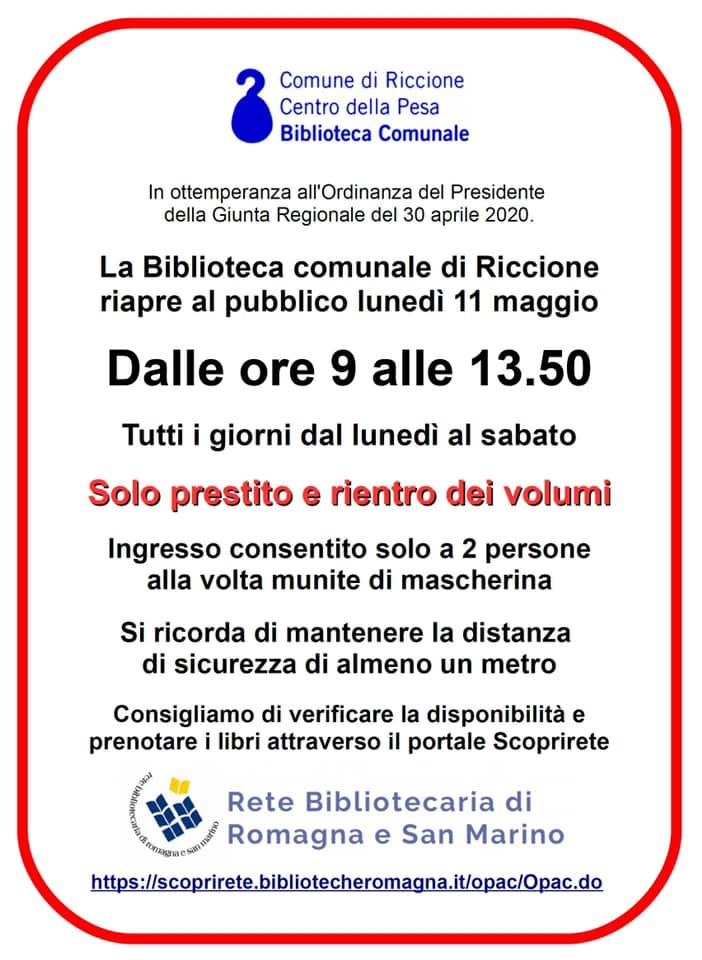 Banner informativo su riapertura Biblioteca Comunale Riccione